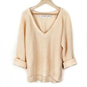 Vintage V-Neck Chunky Knit Sweater Peach Medium